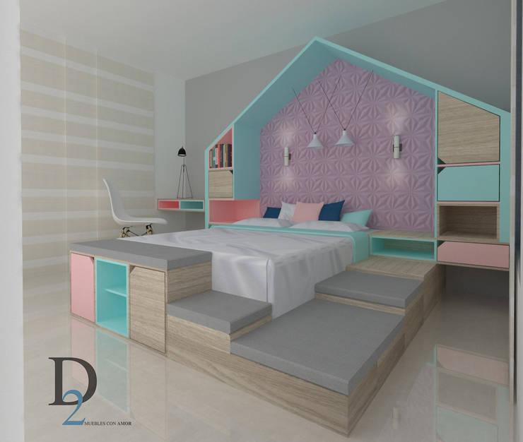 Habitación Infantil.: Habitaciones para niñas de estilo  por D2 ARQUITECTURA Y MOBILIARIO