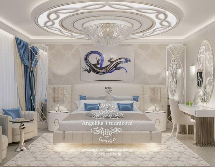 Дизайн-проект интерьера спальни в стиле ар-деко в голубых оттенках в ЖК Дубровка: Спальни в . Автор – Дизайн-студия элитных интерьеров Анжелики Прудниковой,