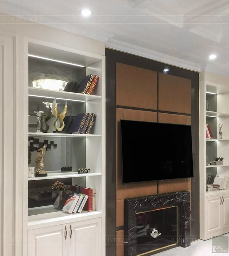 Không gian biệt thự đẹp: Phong cách Tân cổ điển nhẹ nhàng tinh tế:  Phòng khách by ICON INTERIOR