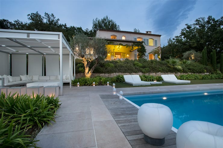 Private Residence in South of France:  Pool by Meg Vaun Interiors,