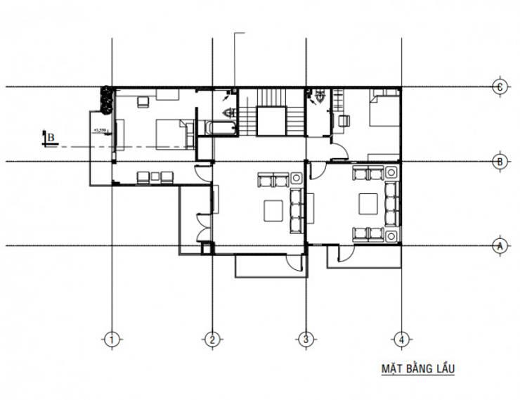 Mặt bằng tầng 2 biệt thự:  Biệt thự by Công ty TNHH Thiết Kế Xây Dựng Song Gia Phát