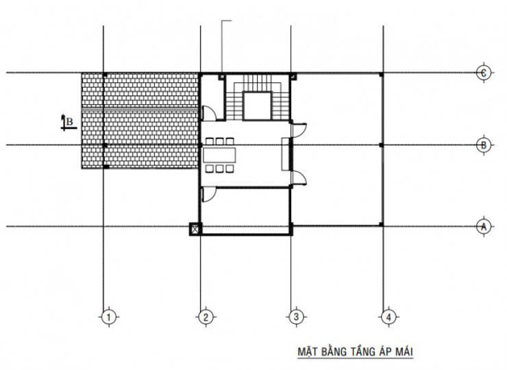 Bố trí mặt bằng tầng áp mái:  Biệt thự by Công ty TNHH Thiết Kế Xây Dựng Song Gia Phát