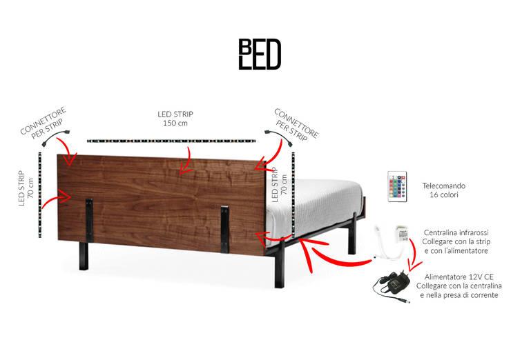 BEDLED – kit striscia led per retroilluminazione testiera del letto: Camera da letto in stile  di Eleni Lighting