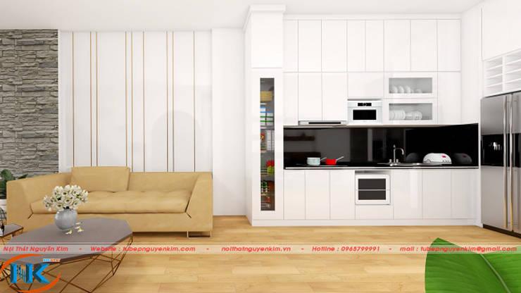 Mẫu tủ bếp gỗ acrylic màu trắng đang hót đầu năm 2019:   by Nội thất Nguyễn Kim