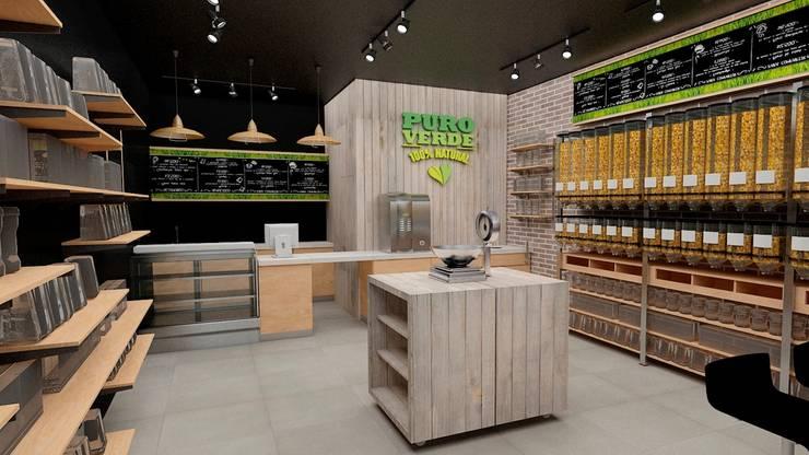 Modelo 3D para Café Vegano Puro Verde: Oficinas y Comercios de estilo  por AUTANA arquitectos