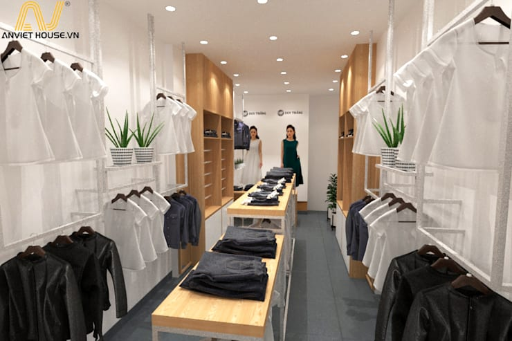 Thiết kế shop quần áo nữ 35m2:  Interior landscaping by An Viet Trading and Interior Service Joint Stock Company