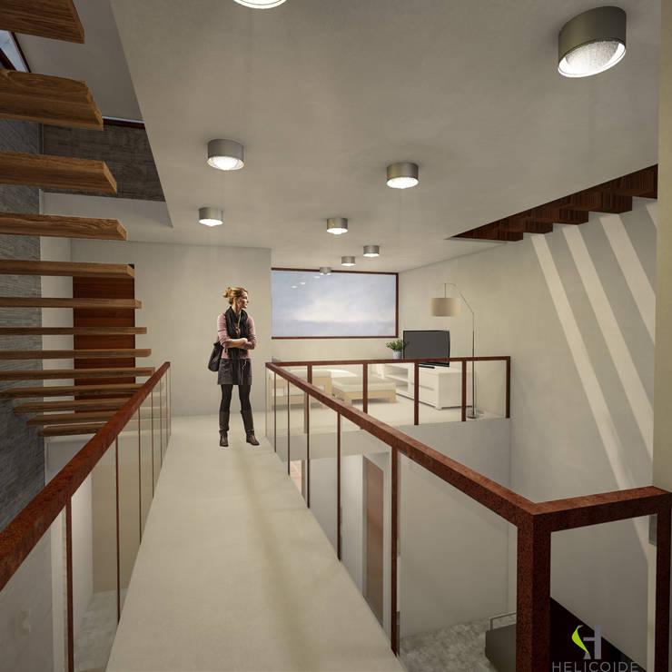 Modern Corridor, Hallway and Staircase by Helicoide Estudio de Arquitectura Modern