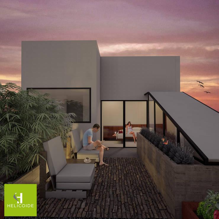 Modern terrace by Helicoide Estudio de Arquitectura Modern