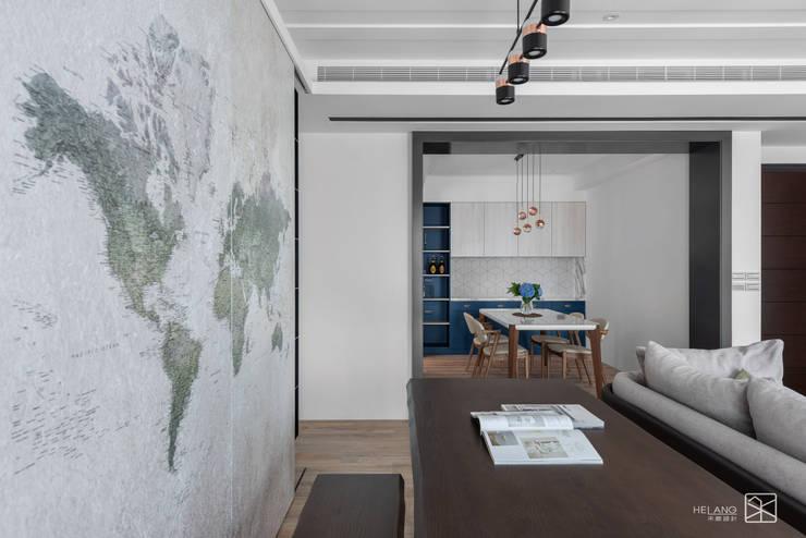 地圖壁紙:  書房/辦公室 by 禾廊室內設計,