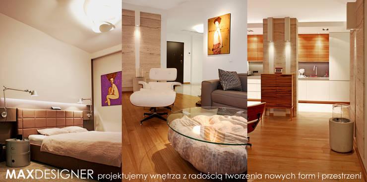 Sypialnia, salon, kuchnia.: styl , w kategorii Sypialnia zaprojektowany przez MAXDESIGNER