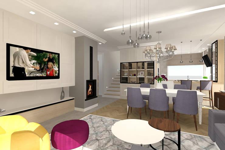 Living room by Studio Vermilion Anna Cisło, Classic Wood Wood effect