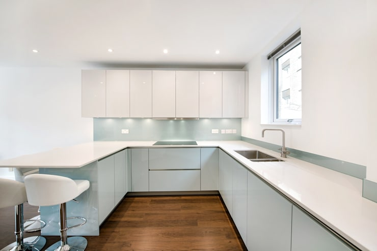Handleless Ocean Blue and White Kitchen :  Kitchen by LWK Kitchens SA