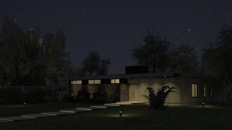 Frente de noche: Casas unifamiliares de estilo  por MOD | Arquitectura,