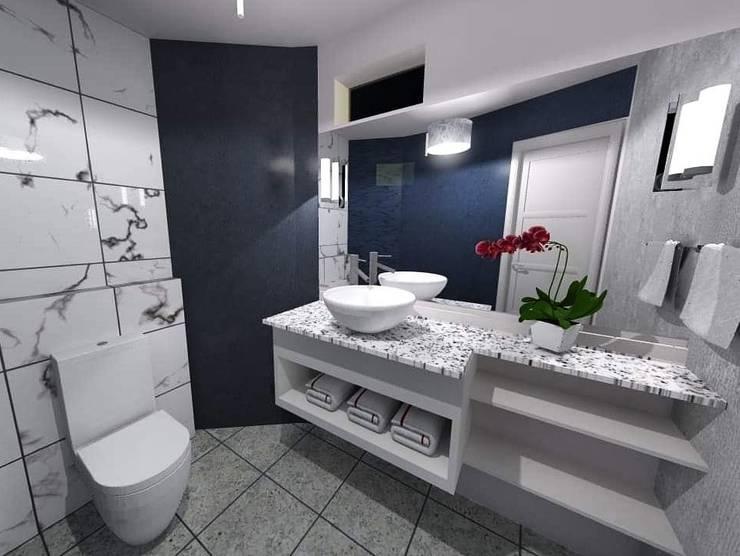 Diseño e implementación de baño de visitas: Baños de estilo  por Disarc Arquitectos