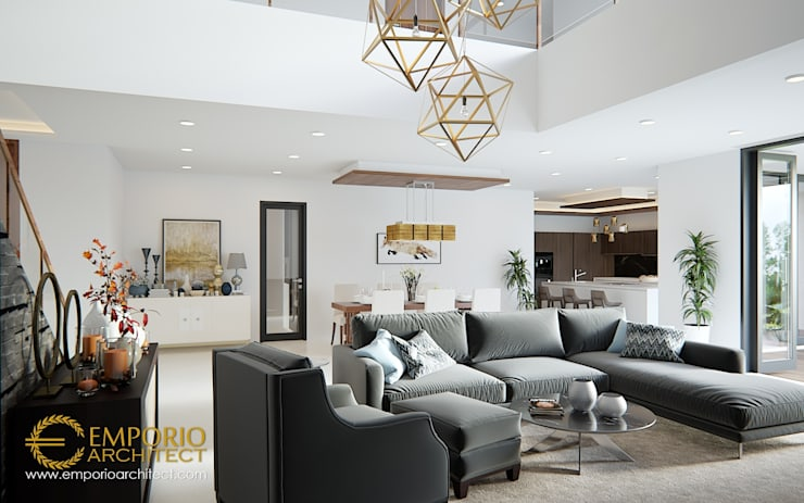 Ruang Keluarga:  oleh Emporio Architect,