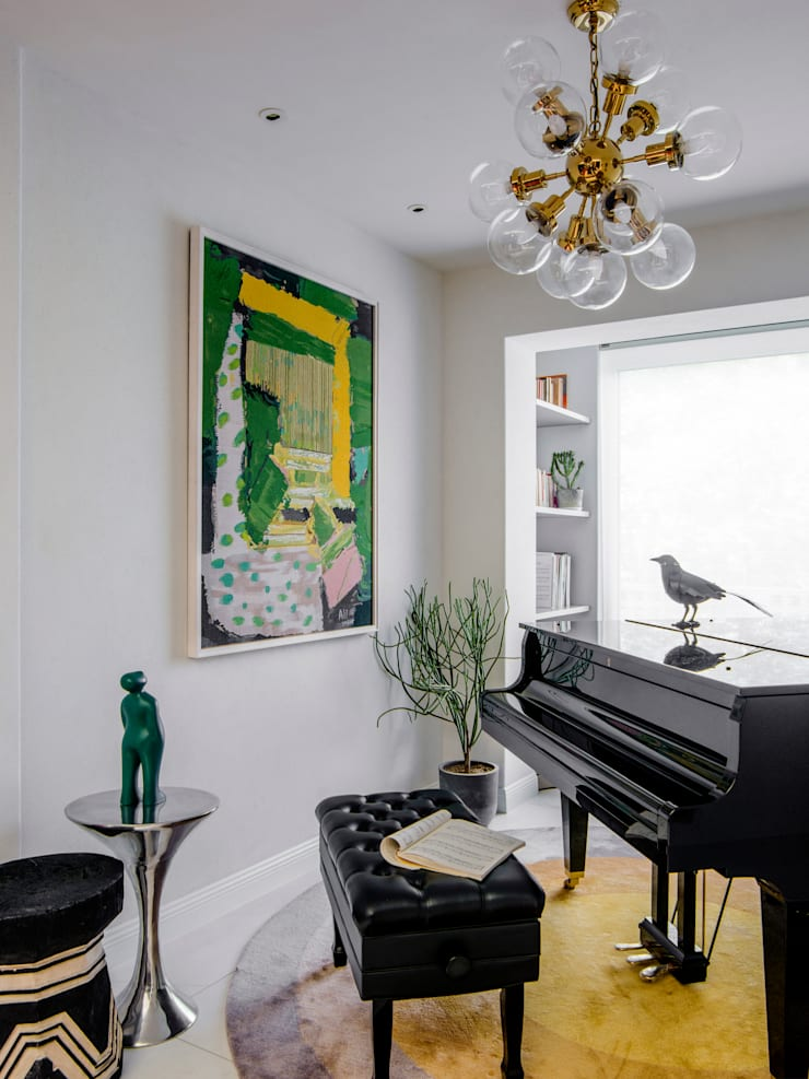 Piano Room:  Living room by C&M Media, Eclectic