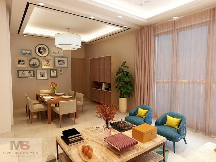 Salas / recibidores de estilo  por Matter Of Space Pvt. Ltd.,