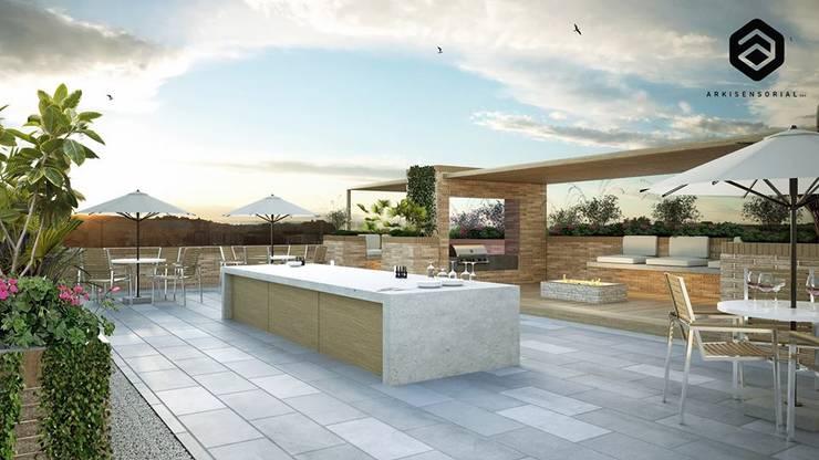 Ubik 140 Balcones y terrazas de estilo moderno de Arkisensorial Moderno