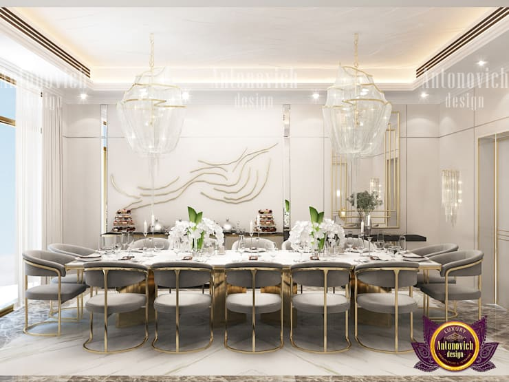 Elegant Dining Room Interior:   by Luxury Antonovich Design,