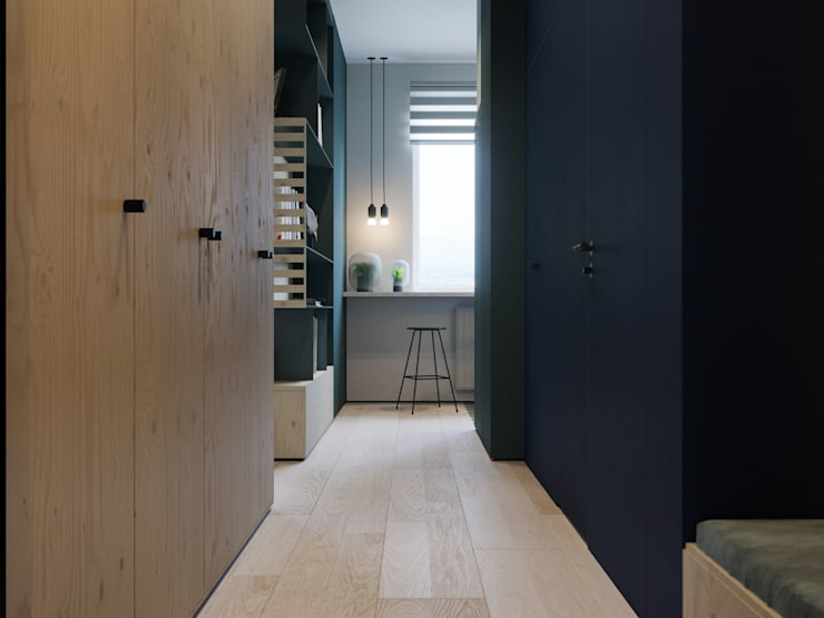 Апартаменты Plywood: Коридор и прихожая в . Автор – Suiten7, Минимализм Дерево Эффект древесины