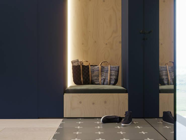 Апартаменты Plywood: Коридор и прихожая в . Автор – Suiten7, Скандинавский Керамика