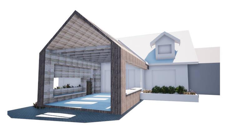 Terraza Casa Los Ángeles:  de estilo  por BOHE Arquitectura