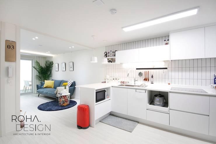 부산 신혼집 인테리어 – 24평 아파트 인테리어: 로하디자인의  다이닝 룸,