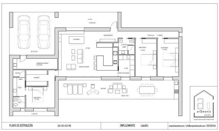 Plano de distribución:  de estilo  de arQmonia estudio, Arquitectos de interior, Asturias,