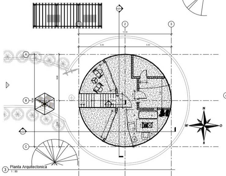 planta arquitectónica : Casas campestres de estilo  por ARCHIMINIMAL ESTUDIO,