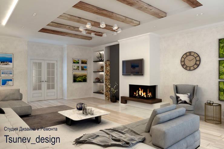 Salon de style  par Цунёв_Дизайн. Студия интерьерных решений., Minimaliste