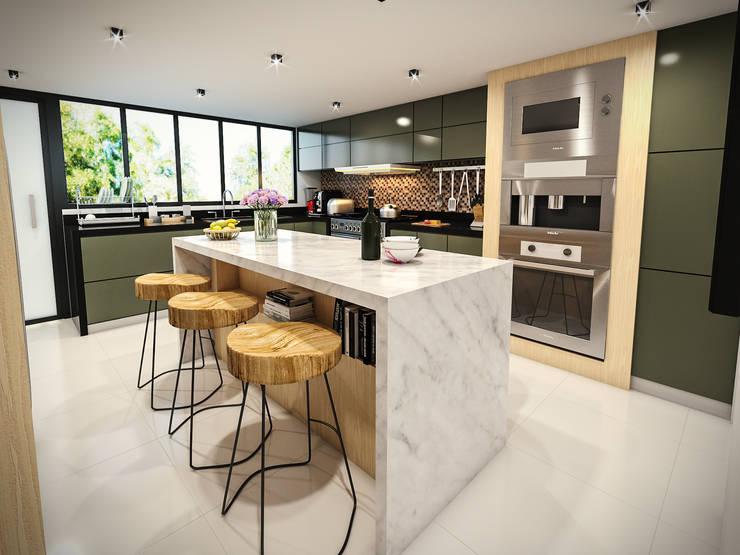 VIVIENDA FQ: Cocinas equipadas de estilo  por PAR Arquitectos