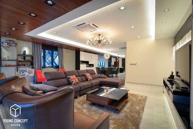 Semi-D @ Bukit Segar :  Living room by Young Concept Design Sdn Bhd, Modern