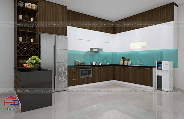 Hình ảnh thiết kế 3D bộ tủ bếp melamine nhà anh Cường - Hà Đông:  Kitchen by Nội thất Hpro
