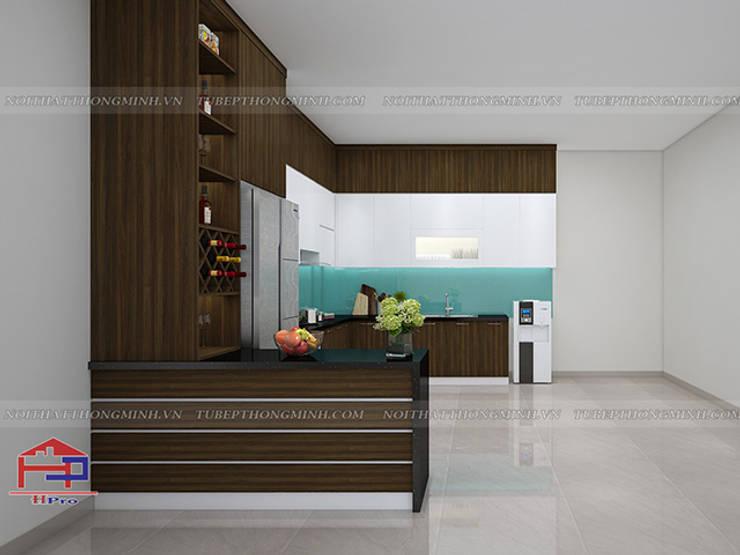Hình ảnh thiết kế 3D tủ bếp gỗ melamine kèm bàn đảo nhà anh Cường - Hà Đông:  Kitchen by Nội thất Hpro