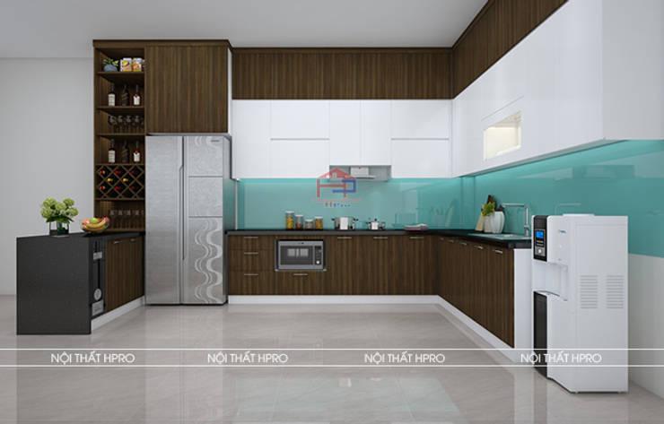 Hình ảnh thiết kế 3D mẫu tủ bếp gỗ MDF lõi xanh phủ melamine nhà anh Cường - Hà Đông:  Kitchen by Nội thất Hpro