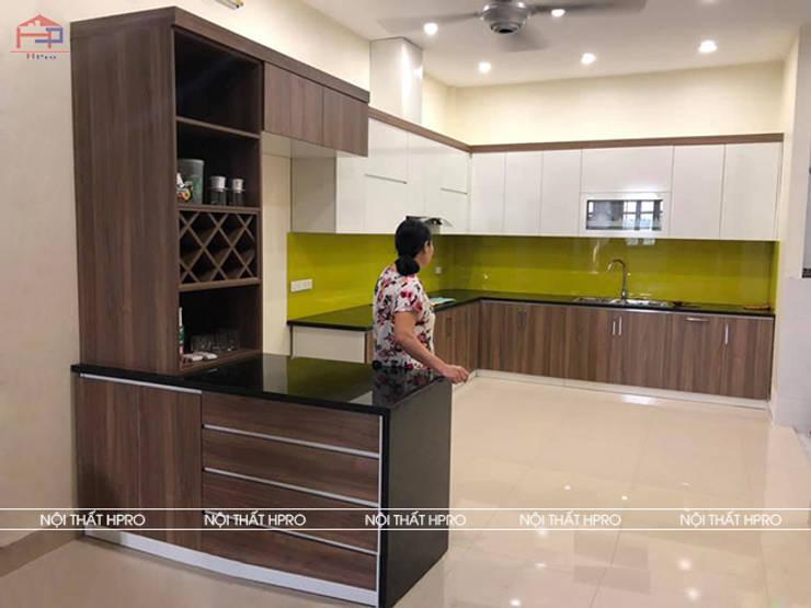 Hình ảnh thực tế bộ tủ bếp melamine nhà anh Cường - Hà Đông :  Kitchen by Nội thất Hpro