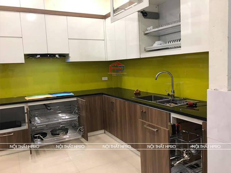 Hình ảnh thực tế bộ tủ bếp gỗ melamine nhà anh Cường - Hà Đông sau khi Hpro hoàn thiện thi công:  Kitchen by Nội thất Hpro