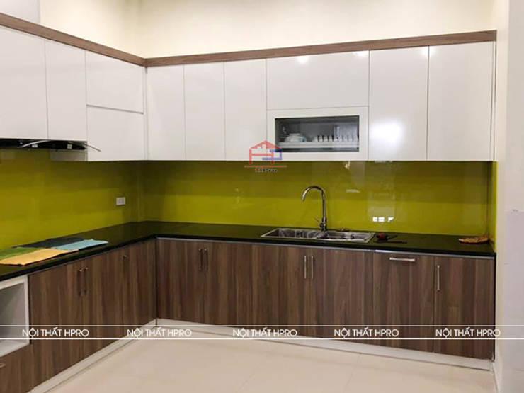 Hình ảnh thực tế bộ tủ bếp melamine chữ L kèm bàn đảo nhà anh Cường - Hà Đông:  Kitchen by Nội thất Hpro