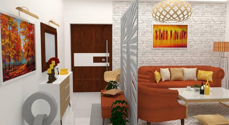 GUDIPATI HOUSE, HITECH CITY, HYDERABAD:  Living room by be ZEN Design, Modern