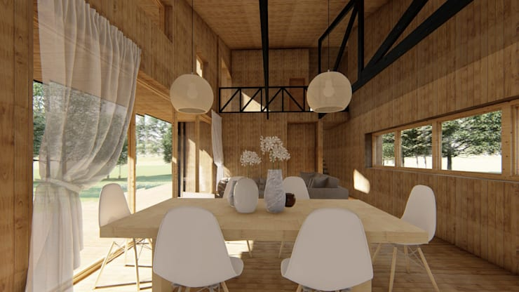 Diseño de Casa Rural en Coyhaique: Comedores de estilo  por casa rural - Arquitectos en Coyhaique