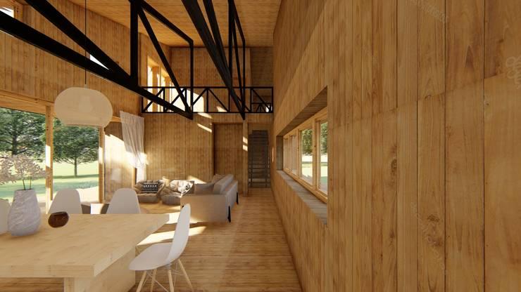 Diseño de Casa Rural en Coyhaique: Livings de estilo  por casa rural - Arquitectos en Coyhaique
