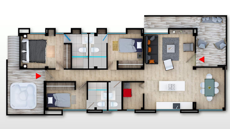 Plano Piso Tipo : Casas campestres de estilo  por Solsiem Constructora SAS,