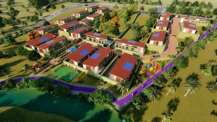 Vista Aérea : Conjunto residencial de estilo  por Solsiem Constructora SAS,