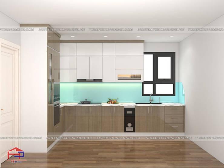Hình ảnh thiết kế 3D bộ tủ bếp acrylic nhà anh Minh - Lê Trọng Tấn:  Kitchen by Nội thất Hpro