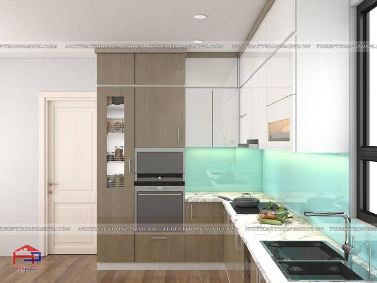 Hình ảnh thiết kế 3D bộ tủ bếp acrylic chữ L nhà anh Minh - Lê Trọng Tấn:  Kitchen by Nội thất Hpro