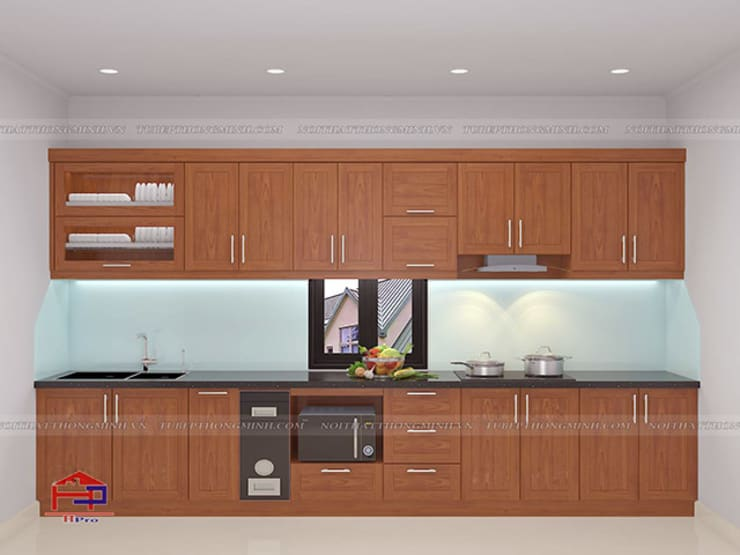 Hình ảnh thiết kế 3D bộ tủ bếp gỗ xoan đào nhà chú Ước ở Thường Tín:  Kitchen by Nội thất Hpro