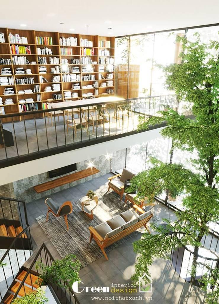 NHÀ PHỐ CAO BẰNG TRÀN NGẬP ÁNH SÁNG :  Phòng học/Văn phòng by Green Interior