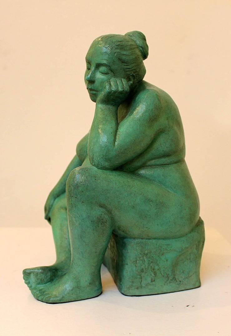 Figurative bronze sculpture - Soraya:  Living room by Marie Smith, Modern Metal