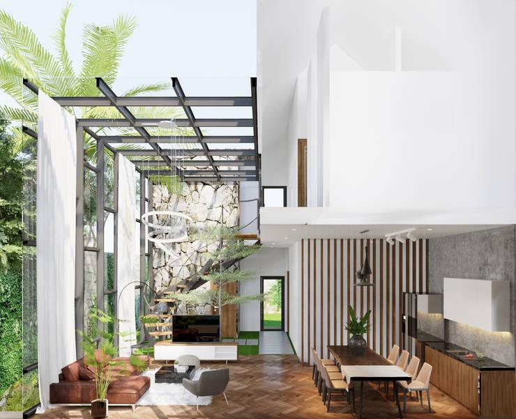 THIẾT KẾ BIỆT THỰ SÂN VƯỜN ECOPARK – THÁCH THỨC MỌI GIỚI HẠN:  Phòng khách by Green Interior