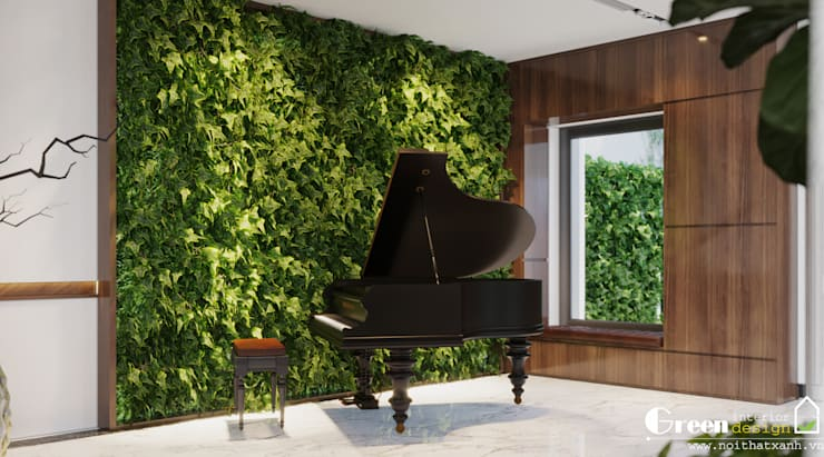 """LỘ DIỆN THIẾT KẾ """"NHÀ NGƯỜI TA"""" BẢN GIAO HƯỞNG XANH GIỮA LÒNG GREEN BAY:  Living room by Green Interior"""